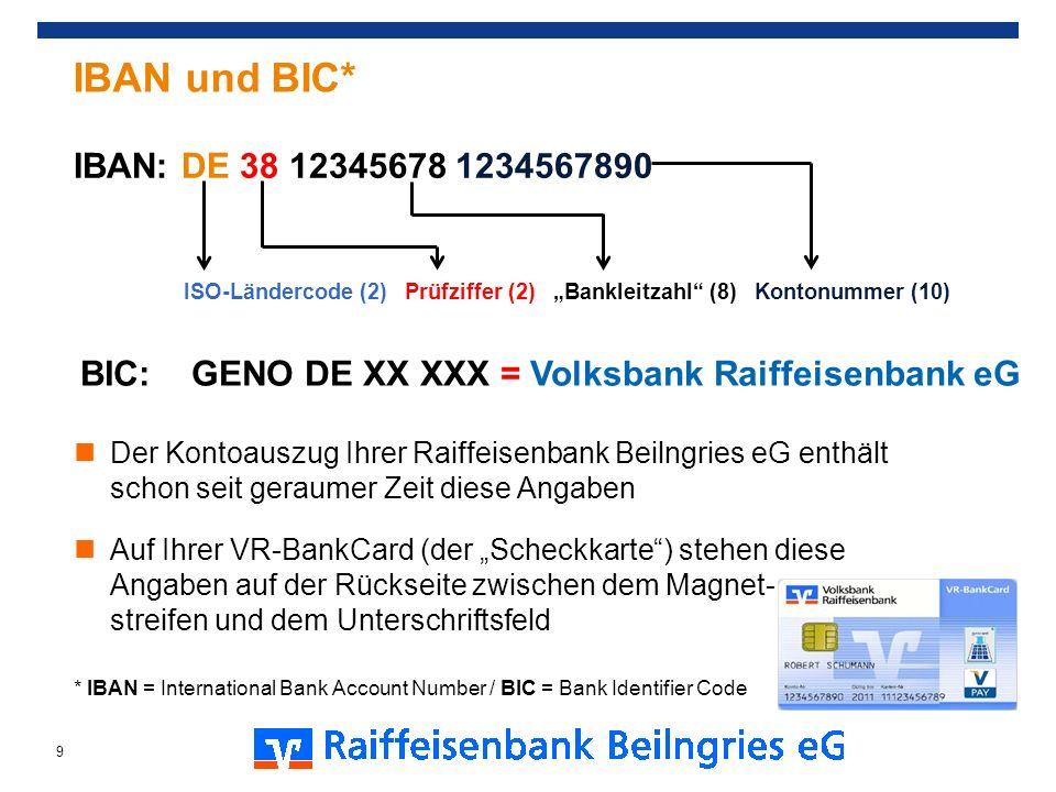 Der Kontoauszug Ihrer Raiffeisenbank Beilngries eG enthält schon seit geraumer Zeit diese Angaben Auf Ihrer VR-BankCard (der Scheckkarte) stehen diese