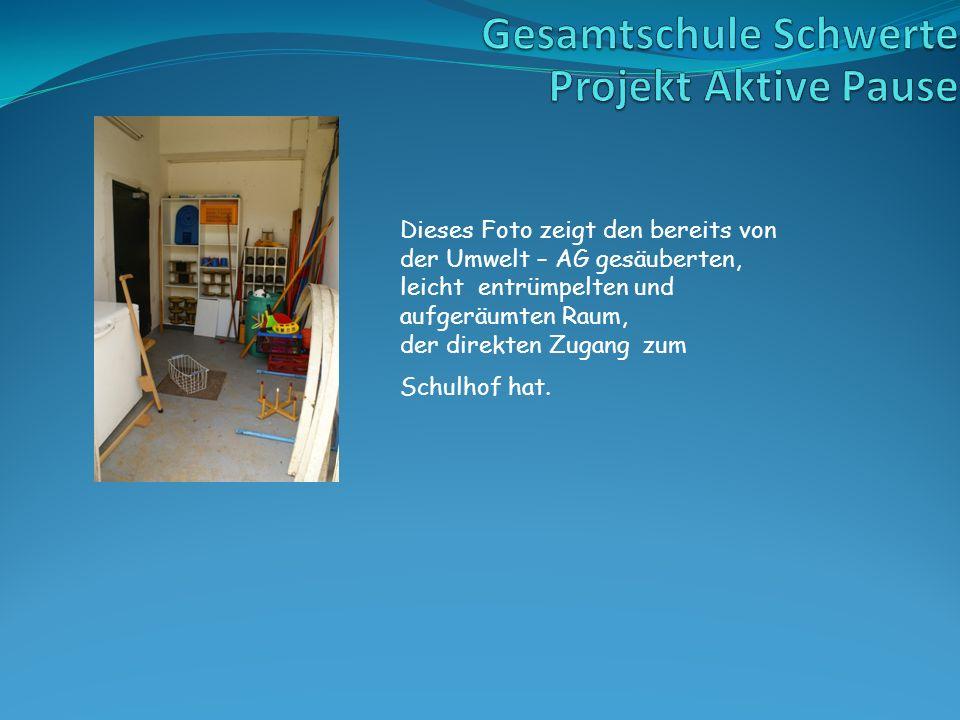 Dieses Foto zeigt den bereits von der Umwelt – AG gesäuberten, leicht entrümpelten und aufgeräumten Raum, der direkten Zugang zum Schulhof hat.
