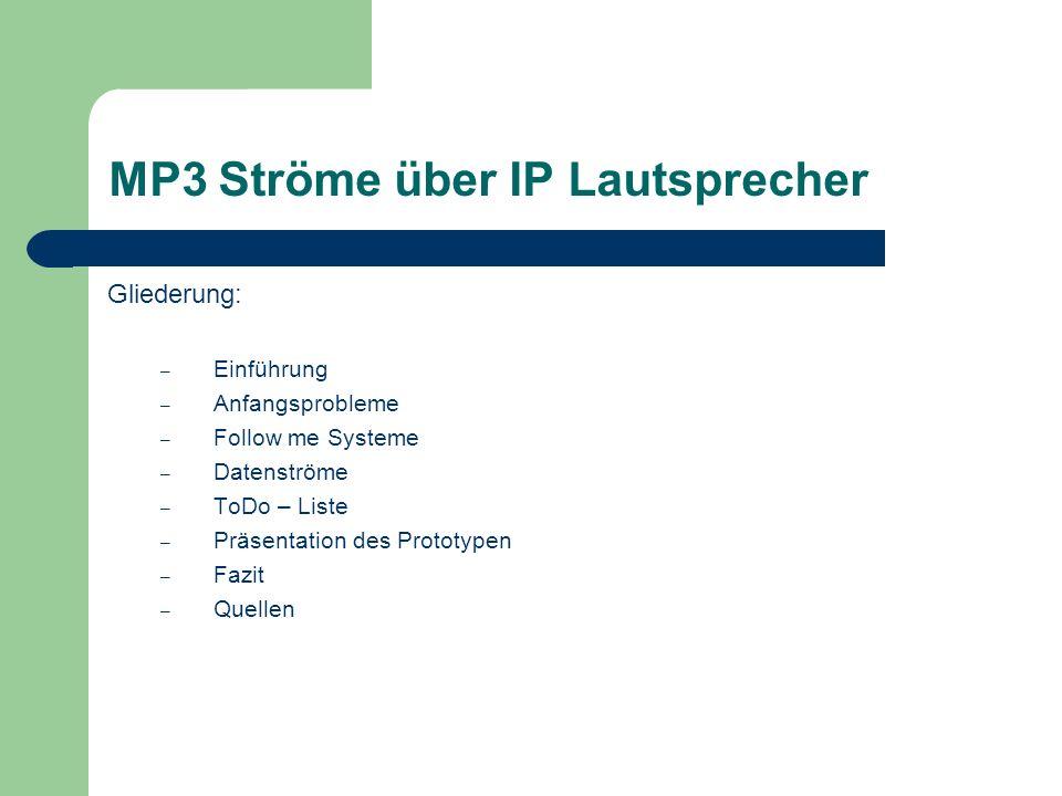 MP3 Ströme über IP Lautsprecher Gliederung: – Einführung – Anfangsprobleme – Follow me Systeme – Datenströme – ToDo – Liste – Präsentation des Prototypen – Fazit – Quellen