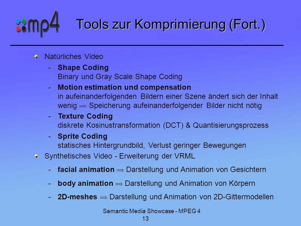 Semantic Media Showcase - MPEG 4 13 Tools zur Komprimierung (Fort.) Natürliches Video -Shape Coding Binary und Gray Scale Shape Coding -Motion estimat