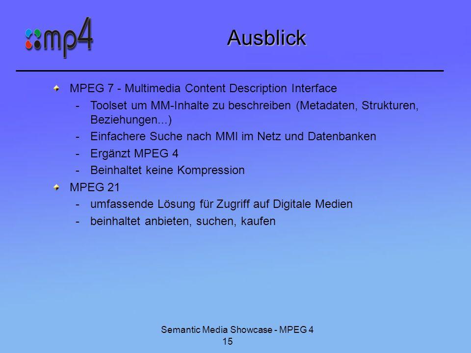 Semantic Media Showcase - MPEG 4 15 Ausblick MPEG 7 - Multimedia Content Description Interface -Toolset um MM-Inhalte zu beschreiben (Metadaten, Struk