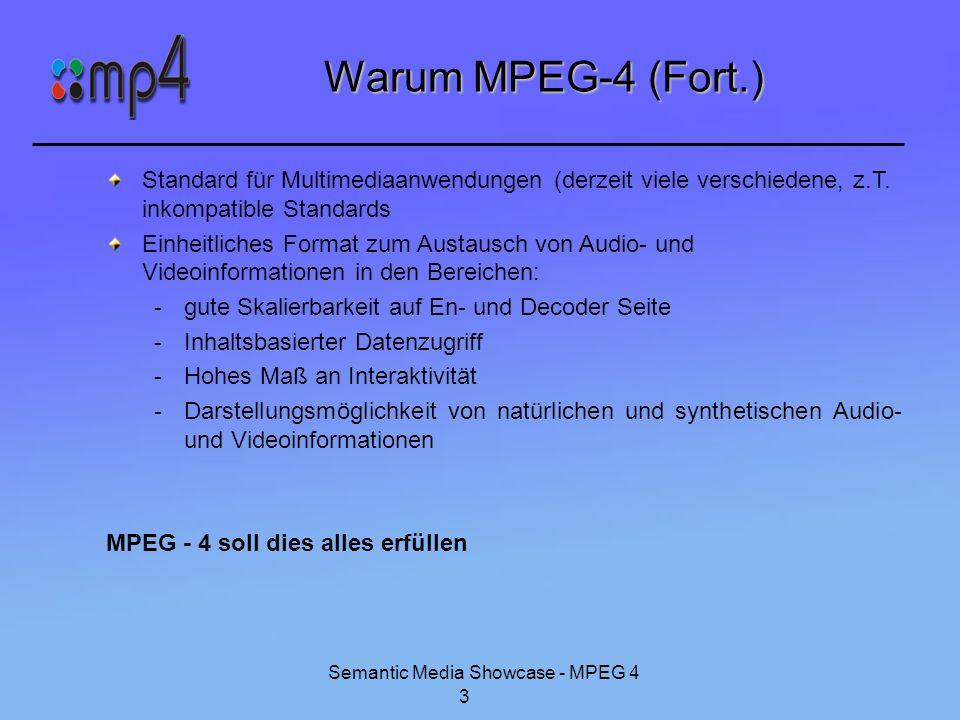 Semantic Media Showcase - MPEG 4 4 Geschichte von MPEG-4 MPEG-4 ist ein ISO/IEC Standard (ISO/IEC 14496), entwickelt von MPEG (Moving Picture Experts Group) Als Version 1 1998 verabschiedet, 2000 folgt Version 2 (geringe Erweiterungen, abwärtskompatibel) Vorgänger waren MPEG-1 und MPEG-2 erfüllen nur unzureichend oben genannte Erwartungen 3 Felder: Digitales Fernsehen, interaktive grafische Applikationen und interaktives Multimedia (im World Wide Web, für Verteilung von Inhalten und Zugang zu Inhalten) ISO/IEC 14496-1 (Systems): Tools (z.B.