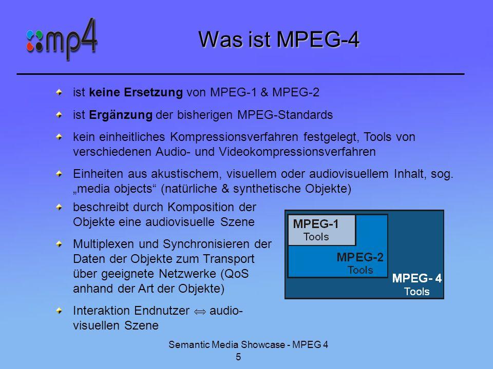 Semantic Media Showcase - MPEG 4 5 Was ist MPEG-4 ist keine Ersetzung von MPEG-1 & MPEG-2 ist Ergänzung der bisherigen MPEG-Standards kein einheitlich