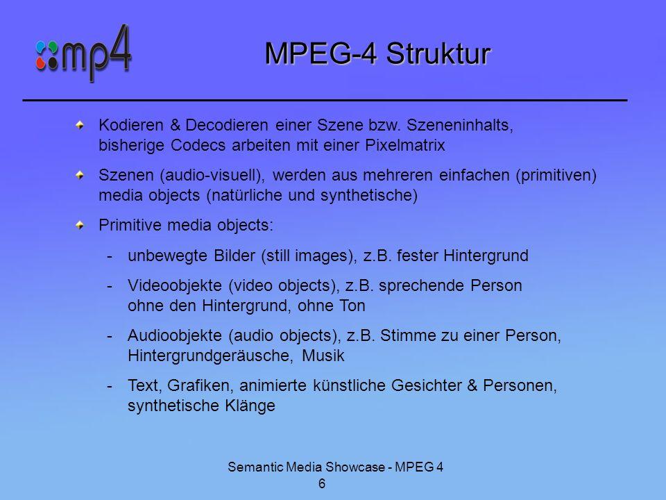 Semantic Media Showcase - MPEG 4 7 MPEG-4 Struktur (Fort.) Szenengraph beschreibt Szene (ist auch primitives media object) -platzieren von media objects in einem Koordinatensystem -Verändern der geometrischen oder akustischen Erscheinung eines media objects -Kompositionvon einfachen media objects zu gemischten media objects wichtig beim Decoding -interaktives Ändern an beliebigen Stellen innerhalb der Szene durch den Endnutzer Konzept für Interaktion bzw.