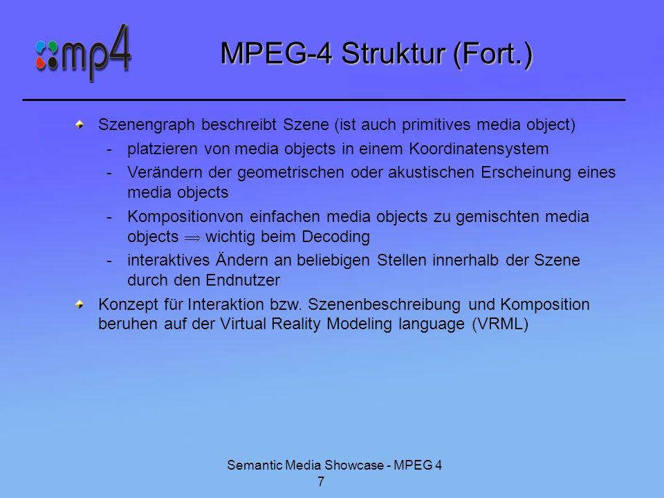 Semantic Media Showcase - MPEG 4 7 MPEG-4 Struktur (Fort.) Szenengraph beschreibt Szene (ist auch primitives media object) -platzieren von media objec