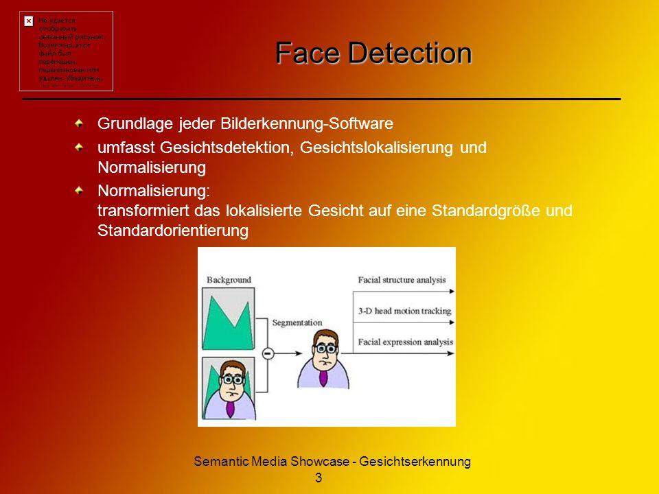 Semantic Media Showcase - Gesichtserkennung 3 Grundlage jeder Bilderkennung-Software umfasst Gesichtsdetektion, Gesichtslokalisierung und Normalisierung Normalisierung: transformiert das lokalisierte Gesicht auf eine Standardgröße und Standardorientierung Face Detection