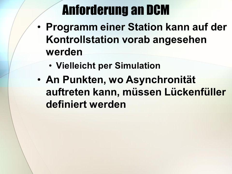 Anforderung an DCM Programm einer Station kann auf der Kontrollstation vorab angesehen werden Vielleicht per Simulation An Punkten, wo Asynchronität auftreten kann, müssen Lückenfüller definiert werden
