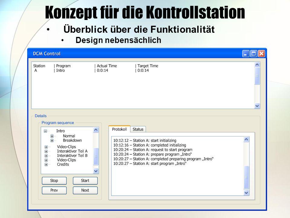 Konzept für die Kontrollstation Überblick über die Funktionalität Design nebensächlich