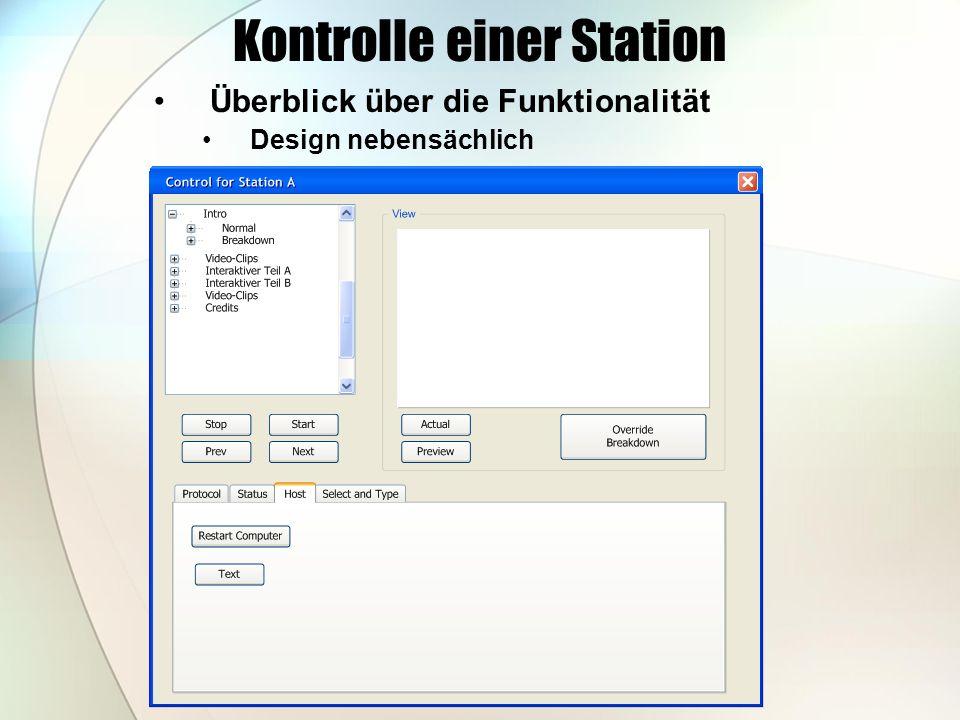 Kontrolle einer Station Überblick über die Funktionalität Design nebensächlich