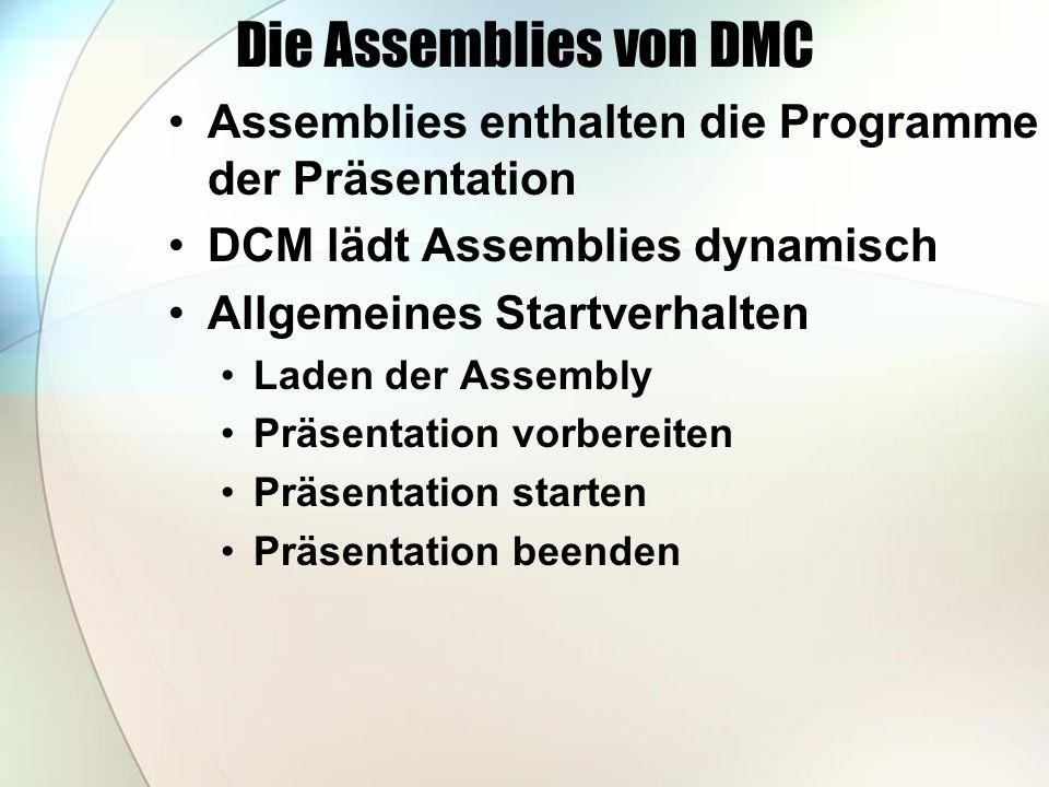 Die Assemblies von DMC Assemblies enthalten die Programme der Präsentation DCM lädt Assemblies dynamisch Allgemeines Startverhalten Laden der Assembly Präsentation vorbereiten Präsentation starten Präsentation beenden
