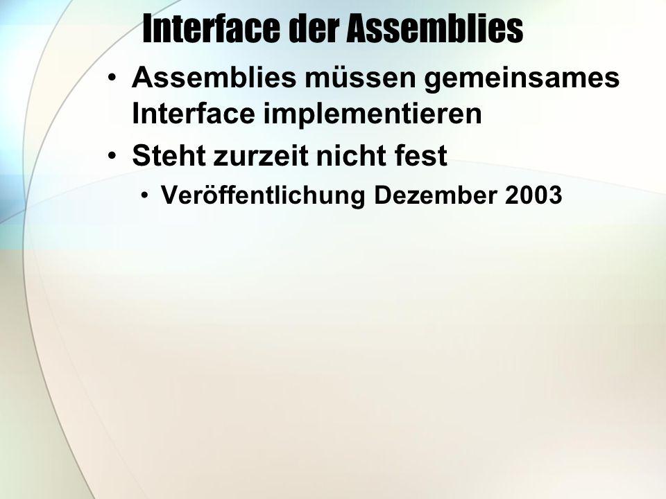 Interface der Assemblies Assemblies müssen gemeinsames Interface implementieren Steht zurzeit nicht fest Veröffentlichung Dezember 2003
