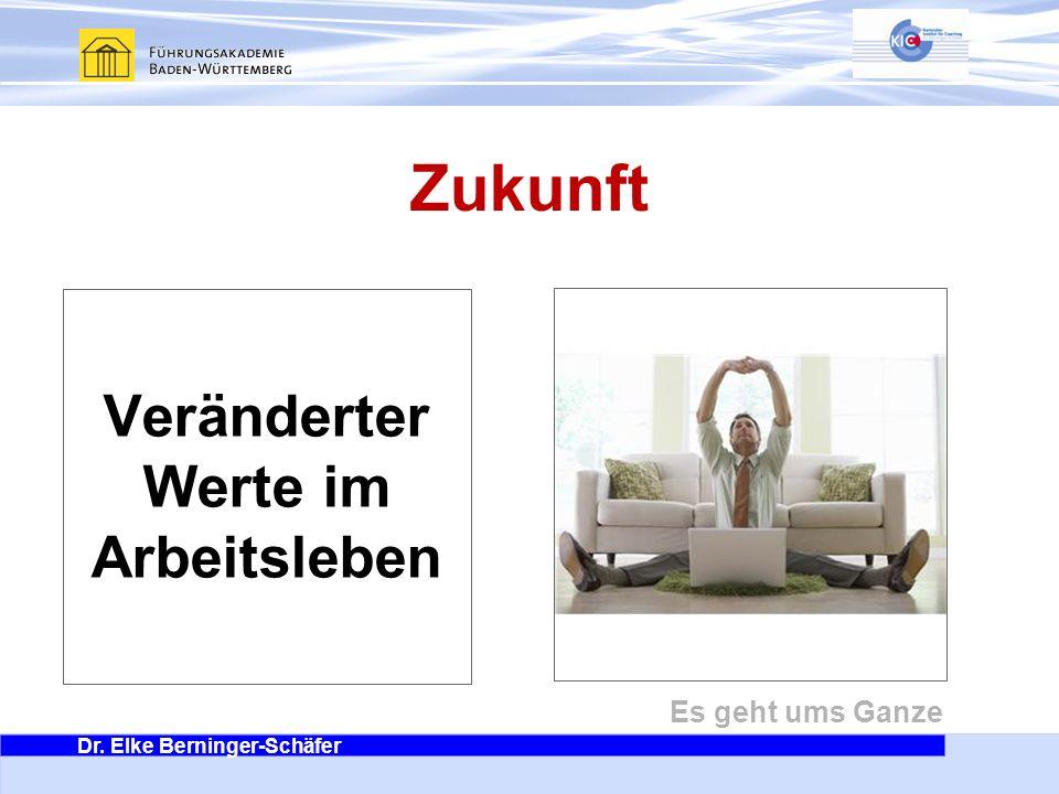 Dr. Elke Berninger-Schäfer Es geht ums Ganze Zukunft Veränderter Werte im Arbeitsleben