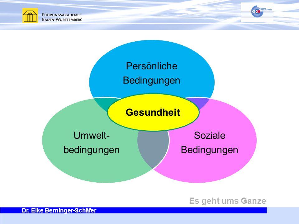 Dr. Elke Berninger-Schäfer Es geht ums Ganze Persönliche Bedingungen Soziale Bedingungen Umwelt- bedingungen Gesundheit