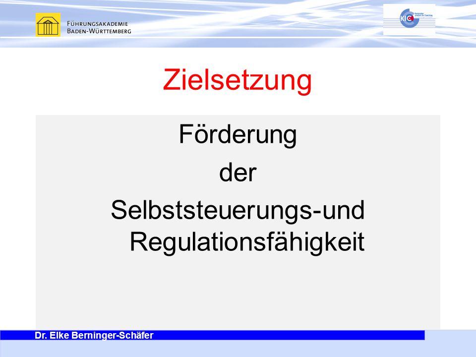 Dr. Elke Berninger-Schäfer Es geht ums Ganze Zielsetzung Förderung der Selbststeuerungs-und Regulationsfähigkeit