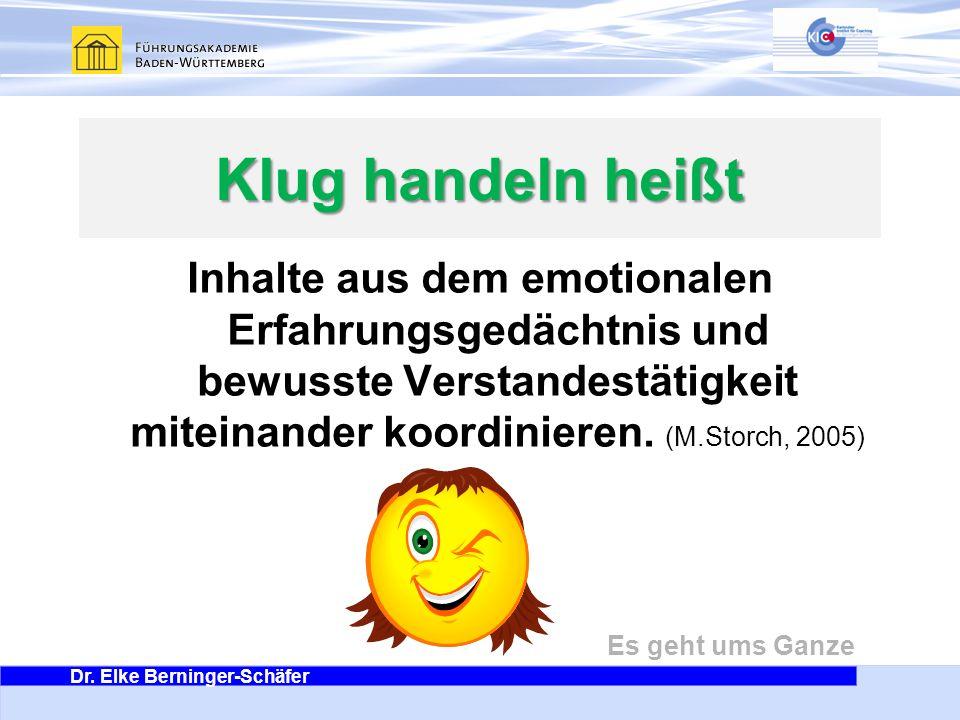 Dr. Elke Berninger-Schäfer Es geht ums Ganze Klug handeln heißt Inhalte aus dem emotionalen Erfahrungsgedächtnis und bewusste Verstandestätigkeit mite