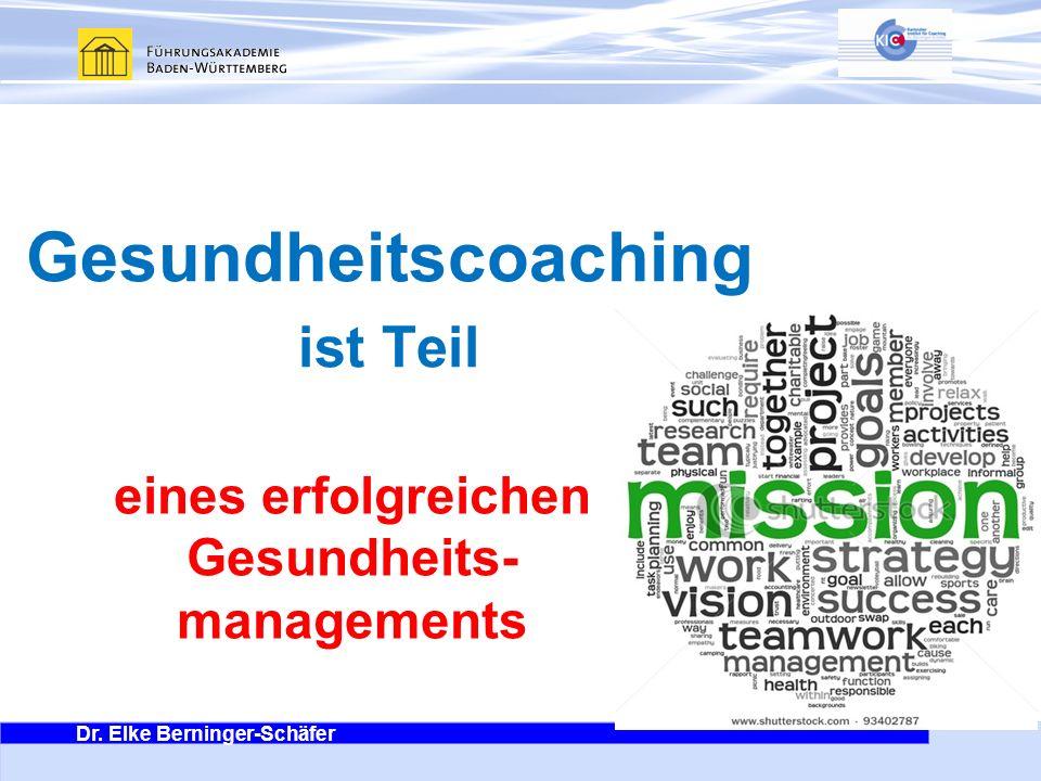 Dr. Elke Berninger-Schäfer Es geht ums Ganze eines erfolgreichen Gesundheits- managements Gesundheitscoaching ist Teil