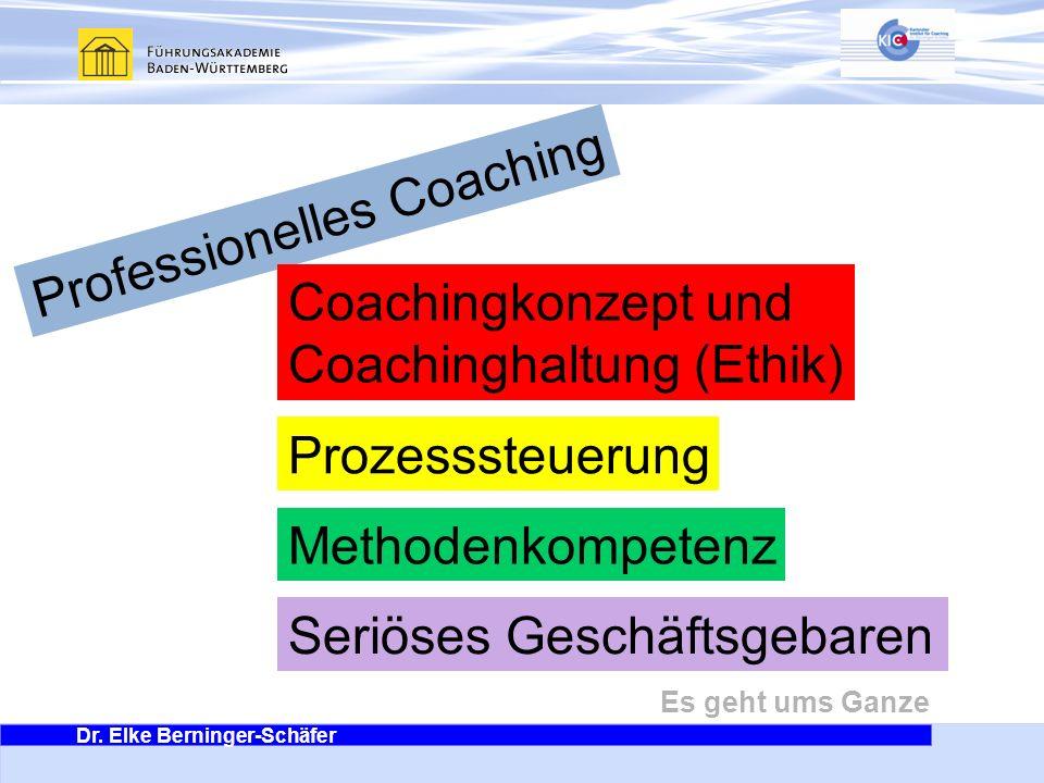 Dr. Elke Berninger-Schäfer Es geht ums Ganze Professionelles Coaching Coachingkonzept und Coachinghaltung (Ethik) Prozesssteuerung Methodenkompetenz S