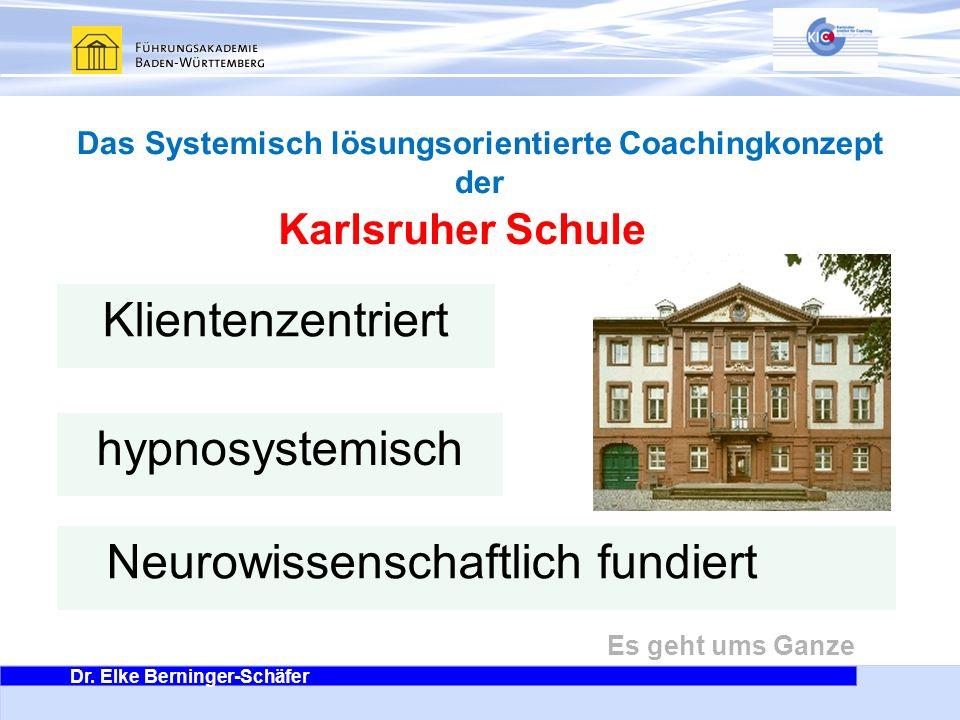 Dr. Elke Berninger-Schäfer Es geht ums Ganze Karlsruher Schule Klientenzentriert hypnosystemisch Neurowissenschaftlich fundiert Das Systemisch lösungs