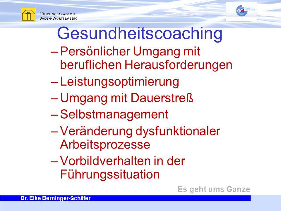 Dr. Elke Berninger-Schäfer Es geht ums Ganze Gesundheitscoaching –Persönlicher Umgang mit beruflichen Herausforderungen –Leistungsoptimierung –Umgang