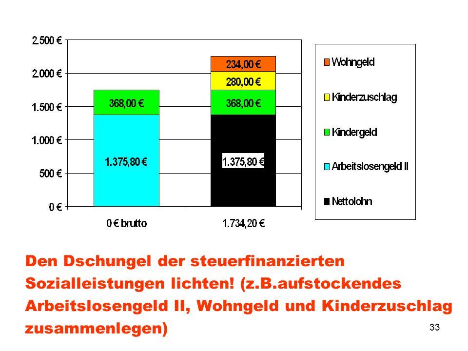 33 Den Dschungel der steuerfinanzierten Sozialleistungen lichten! (z.B.aufstockendes Arbeitslosengeld II, Wohngeld und Kinderzuschlag zusammenlegen)