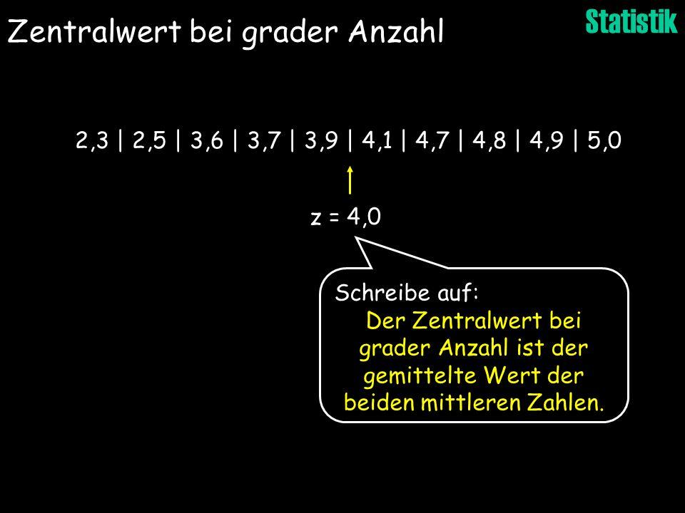 Statistik z = 4,0 2,3 | 2,5 | 3,6 | 3,7 | 3,9 | 4,1 | 4,7 | 4,8 | 4,9 | 5,0 Schreibe auf: Der Zentralwert bei grader Anzahl ist der gemittelte Wert de