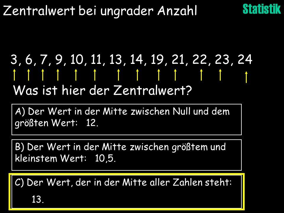 Statistik B) Der Wert in der Mitte zwischen größtem und kleinstem Wert: 10,5. C) Der Wert, der in der Mitte aller Zahlen steht: 13. A) Der Wert in der