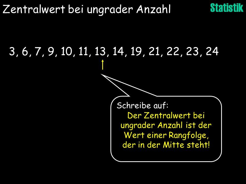 Statistik 3, 6, 7, 9, 10, 11, 13, 14, 19, 21, 22, 23, 24 Zentralwert bei ungrader Anzahl Schreibe auf: Der Zentralwert bei ungrader Anzahl ist der Wer