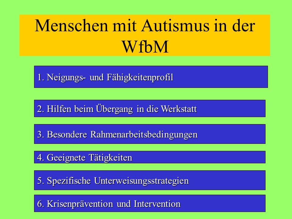 Menschen mit Autismus in der WfbM 1. Neigungs- und Fähigkeitenprofil 2. Hilfen beim Übergang in die Werkstatt 3. Besondere Rahmenarbeitsbedingungen 5.