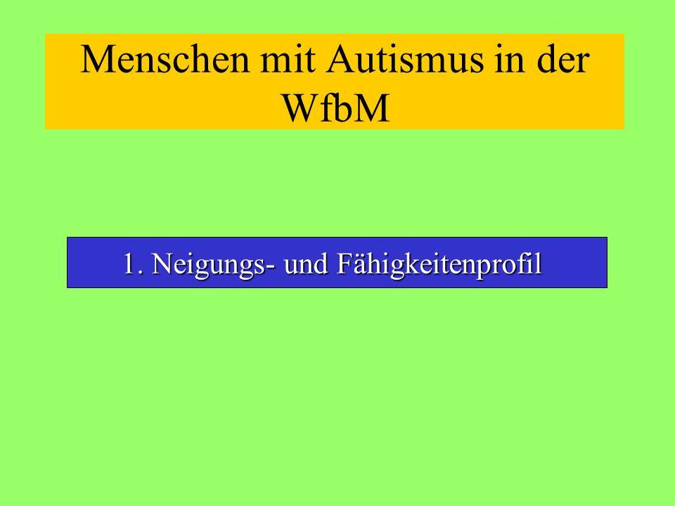 Menschen mit Autismus in der WfbM 1. Neigungs- und Fähigkeitenprofil