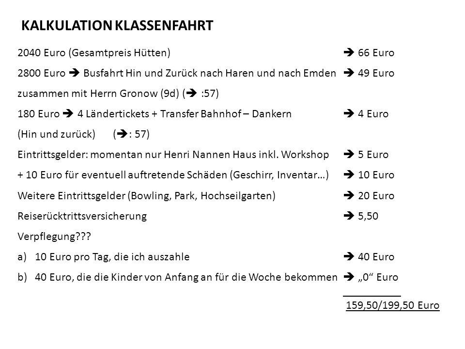 2040 Euro (Gesamtpreis Hütten) 66 Euro 2800 Euro Busfahrt Hin und Zurück nach Haren und nach Emden 49 Euro zusammen mit Herrn Gronow (9d) ( :57) 180 Euro 4 Ländertickets + Transfer Bahnhof – Dankern 4 Euro (Hin und zurück) ( : 57) Eintrittsgelder: momentan nur Henri Nannen Haus inkl.