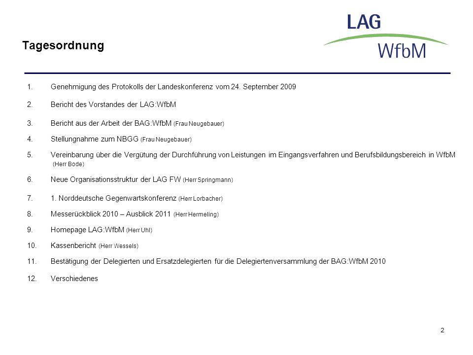 2 Tagesordnung 1.Genehmigung des Protokolls der Landeskonferenz vom 24. September 2009 2.Bericht des Vorstandes der LAG:WfbM 3.Bericht aus der Arbeit