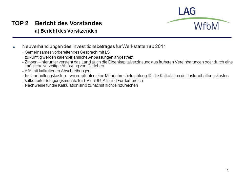 7 Neuverhandlungen des Investitionsbetrages für Werkstätten ab 2011 - Gemeinsames vorbereitendes Gespräch mit LS - zukünftig werden kalenderjährliche
