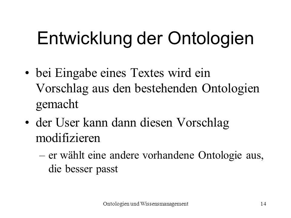 Ontologien und Wissensmanagement14 Entwicklung der Ontologien bei Eingabe eines Textes wird ein Vorschlag aus den bestehenden Ontologien gemacht der U