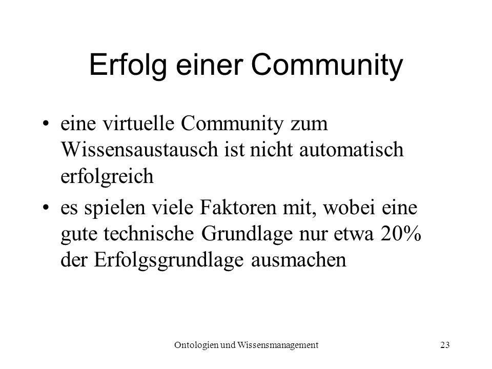 Ontologien und Wissensmanagement23 Erfolg einer Community eine virtuelle Community zum Wissensaustausch ist nicht automatisch erfolgreich es spielen v