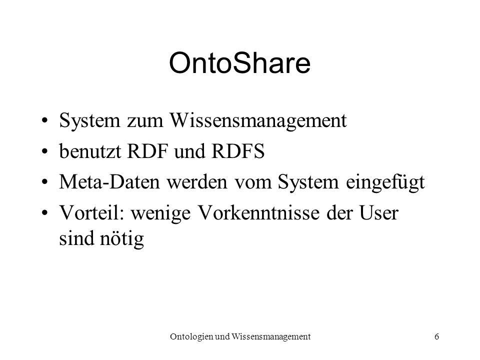 Ontologien und Wissensmanagement6 OntoShare System zum Wissensmanagement benutzt RDF und RDFS Meta-Daten werden vom System eingefügt Vorteil: wenige V