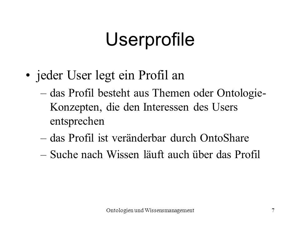 Ontologien und Wissensmanagement7 Userprofile jeder User legt ein Profil an –das Profil besteht aus Themen oder Ontologie- Konzepten, die den Interess