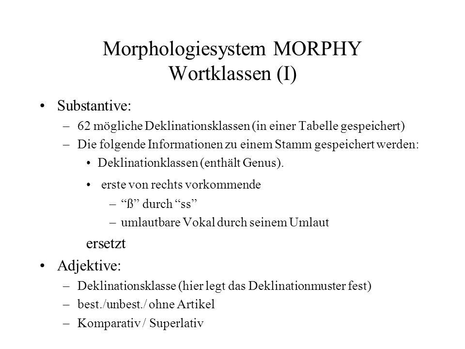 Morphologiesystem MORPHY Wortklassen (II) Schwache Verben: –Konjugationsklasse Nicht-schwache Verben –die 7 markante Formen wird gespeichert.