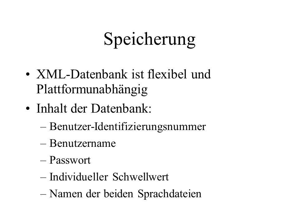 Speicherung XML-Datenbank ist flexibel und Plattformunabhängig Inhalt der Datenbank: –Benutzer-Identifizierungsnummer –Benutzername –Passwort –Individueller Schwellwert –Namen der beiden Sprachdateien