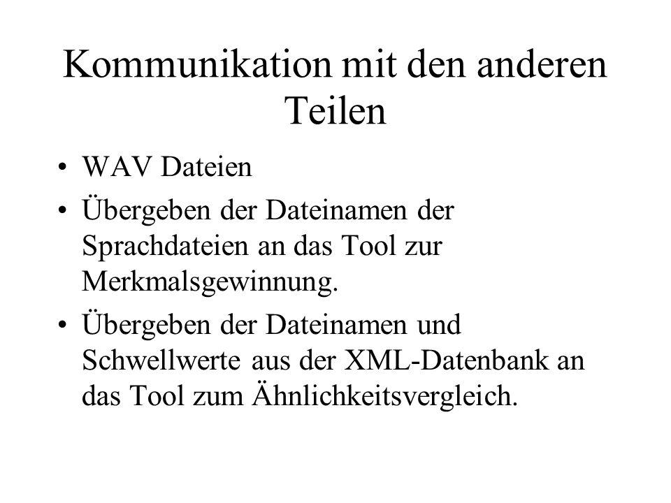 Kommunikation mit den anderen Teilen WAV Dateien Übergeben der Dateinamen der Sprachdateien an das Tool zur Merkmalsgewinnung.