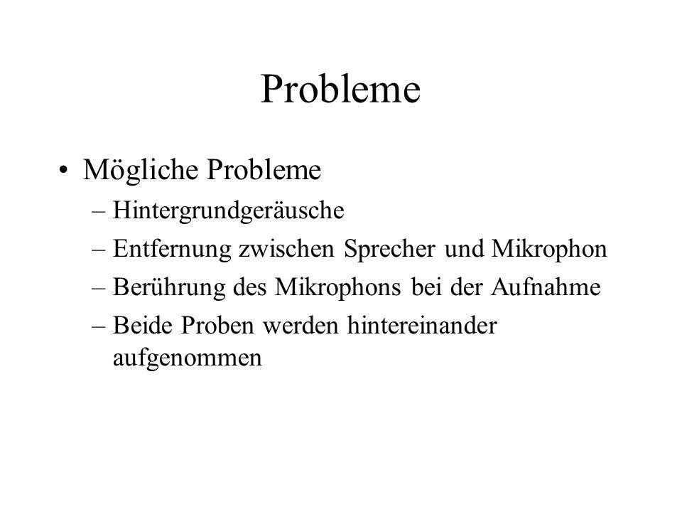 Probleme Mögliche Probleme –Hintergrundgeräusche –Entfernung zwischen Sprecher und Mikrophon –Berührung des Mikrophons bei der Aufnahme –Beide Proben werden hintereinander aufgenommen
