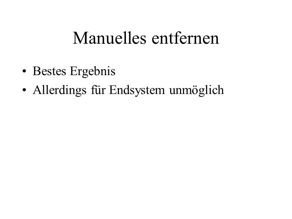 Manuelles entfernen Bestes Ergebnis Allerdings für Endsystem unmöglich