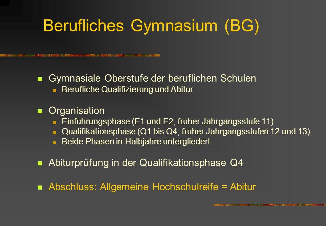 Berufliches Gymnasium (BG) Gymnasiale Oberstufe der beruflichen Schulen Berufliche Qualifizierung und Abitur Organisation Einführungsphase (E1 und E2,