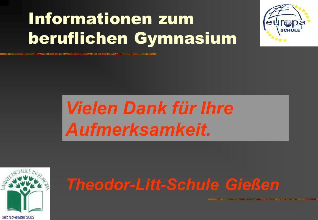 Informationen zum beruflichen Gymnasium Theodor-Litt-Schule Gießen Vielen Dank für Ihre Aufmerksamkeit.