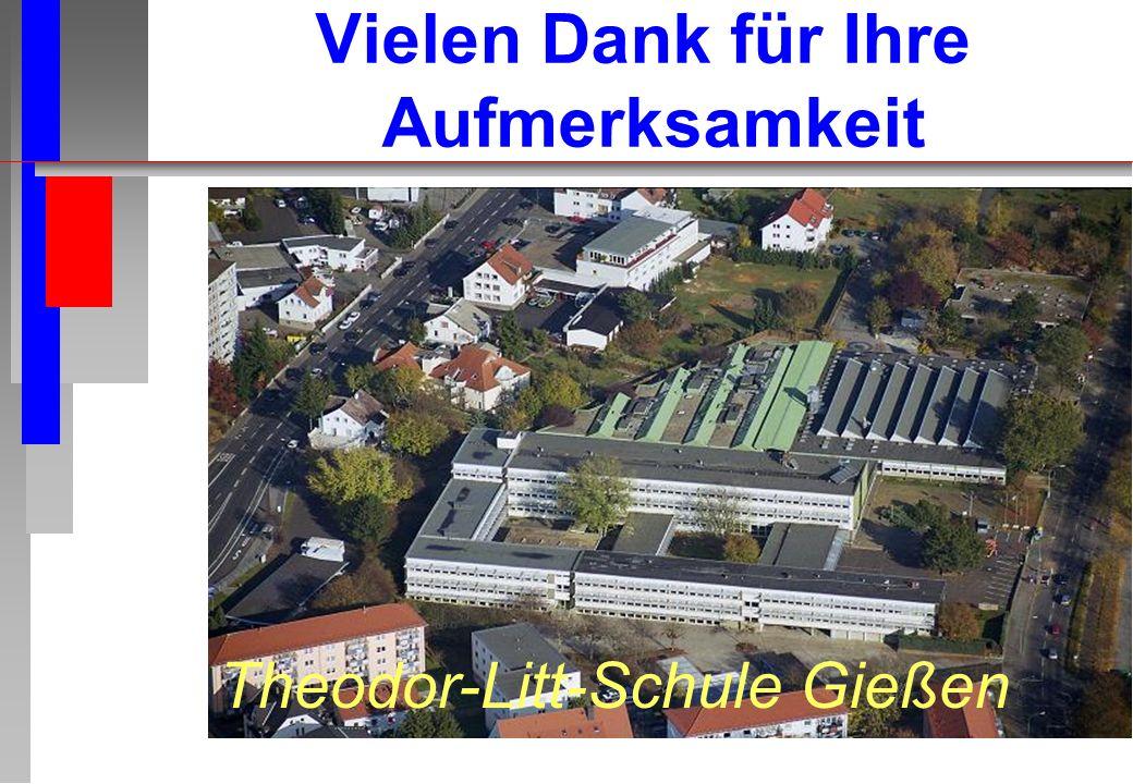 Vielen Dank für Ihre Aufmerksamkeit Theodor-Litt-Schule Gießen