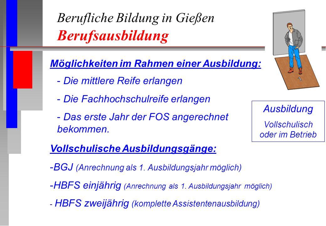 Berufliche Bildung in Gießen Berufsausbildung Ausbildung Vollschulisch oder im Betrieb Möglichkeiten im Rahmen einer Ausbildung: - Die mittlere Reife erlangen - Die Fachhochschulreife erlangen - Das erste Jahr der FOS angerechnet bekommen.