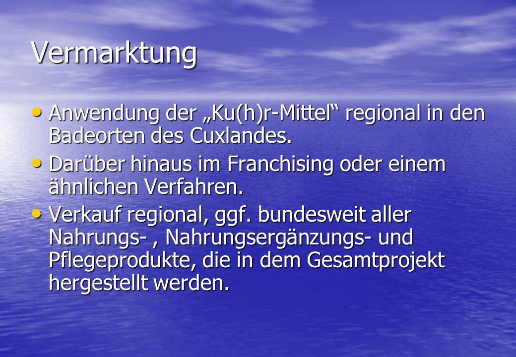 Vermarktung Anwendung der Ku(h)r-Mittel regional in den Badeorten des Cuxlandes.