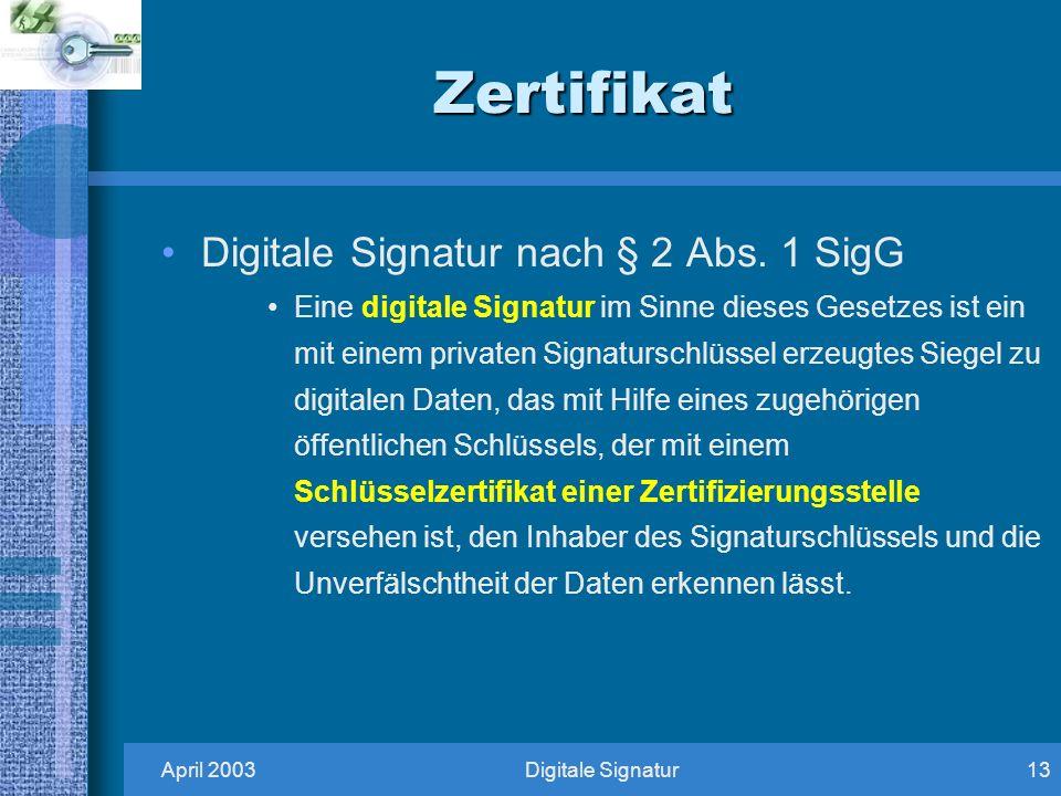 April 2003Digitale Signatur13 Zertifikat Digitale Signatur nach § 2 Abs.