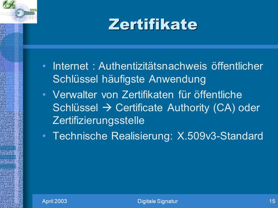 April 2003Digitale Signatur15 Zertifikate Internet : Authentizitätsnachweis öffentlicher Schlüssel häufigste Anwendung Verwalter von Zertifikaten für öffentliche Schlüssel Certificate Authority (CA) oder Zertifizierungsstelle Technische Realisierung: X.509v3-Standard