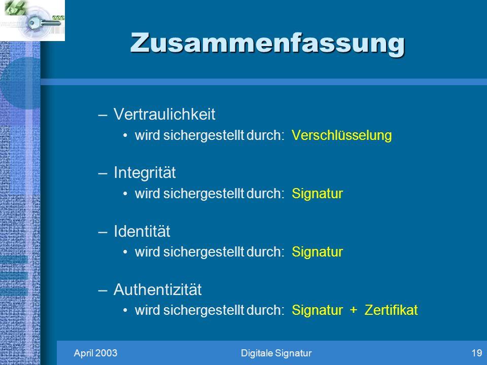 April 2003Digitale Signatur19 Zusammenfassung –Vertraulichkeit wird sichergestellt durch: Verschlüsselung –Integrität wird sichergestellt durch: Signatur –Identität wird sichergestellt durch: Signatur –Authentizität wird sichergestellt durch: Signatur + Zertifikat