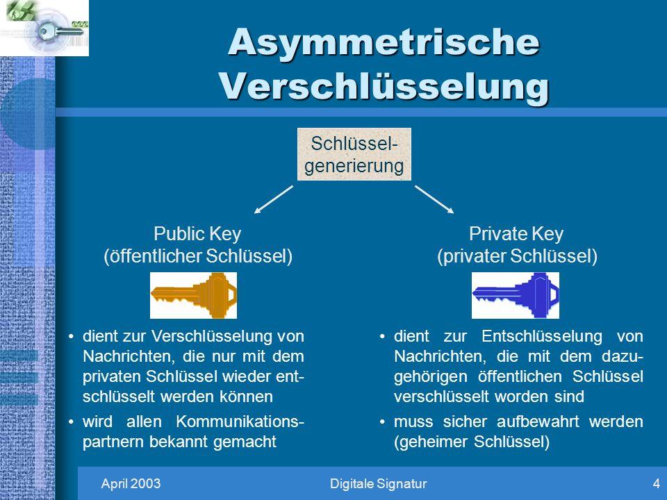 April 2003Digitale Signatur4 Asymmetrische Verschlüsselung Schlüssel- generierung Public Key (öffentlicher Schlüssel) Private Key (privater Schlüssel) dient zur Verschlüsselung von Nachrichten, die nur mit dem privaten Schlüssel wieder ent- schlüsselt werden können wird allen Kommunikations- partnern bekannt gemacht dient zur Entschlüsselung von Nachrichten, die mit dem dazu- gehörigen öffentlichen Schlüssel verschlüsselt worden sind muss sicher aufbewahrt werden (geheimer Schlüssel)